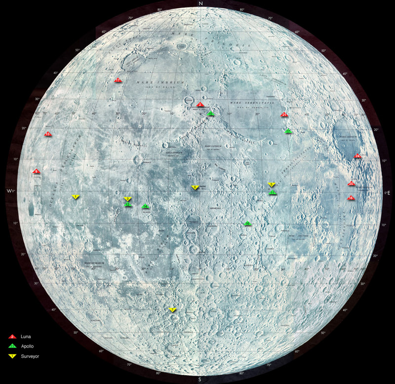From January 2, 1959 to June 17, 2009  A good Lunar timeline